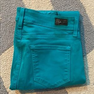 Paige Turquoise cropped Jeans